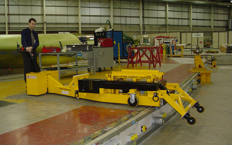 Custom PowerTug for positioning lifting brackets onto Airbus wing sections