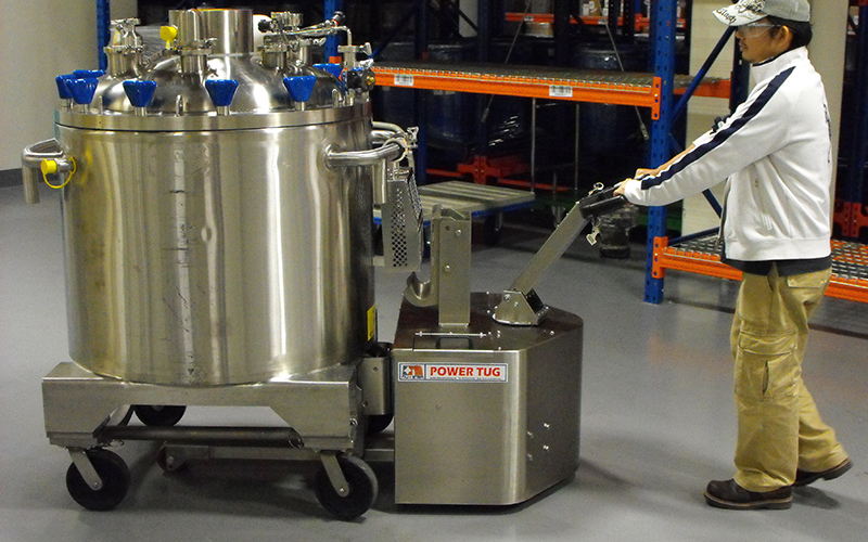 Stainless Steel PowerTug moving 2,000Kg Pharmaceutical mixing vessel in Singapore