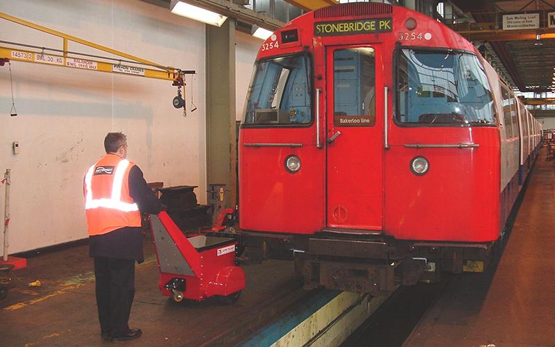Super Power Pusher at London Underground Stonebridge Park depot pushing rolling stock
