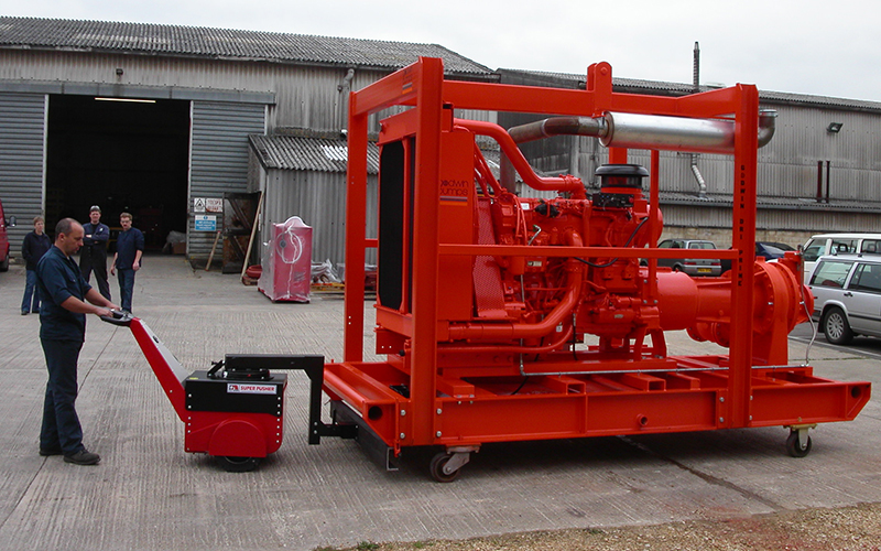 Super Power Pusher, with Steering Arm, moving 5,000Kg industrial pump at Xylem