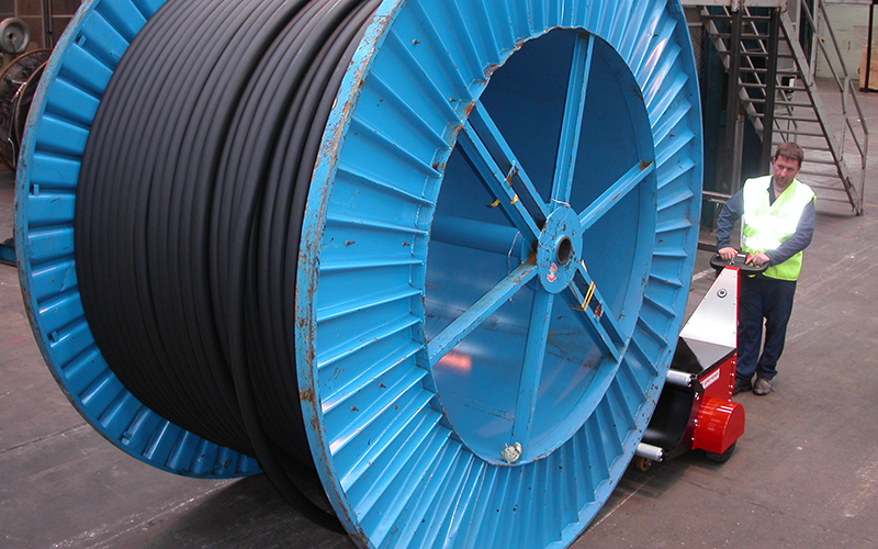 Super Power Pusher, with Roller Attachment, pushing 20,000Kg cable drum for Prysmian Cables, Wrexham