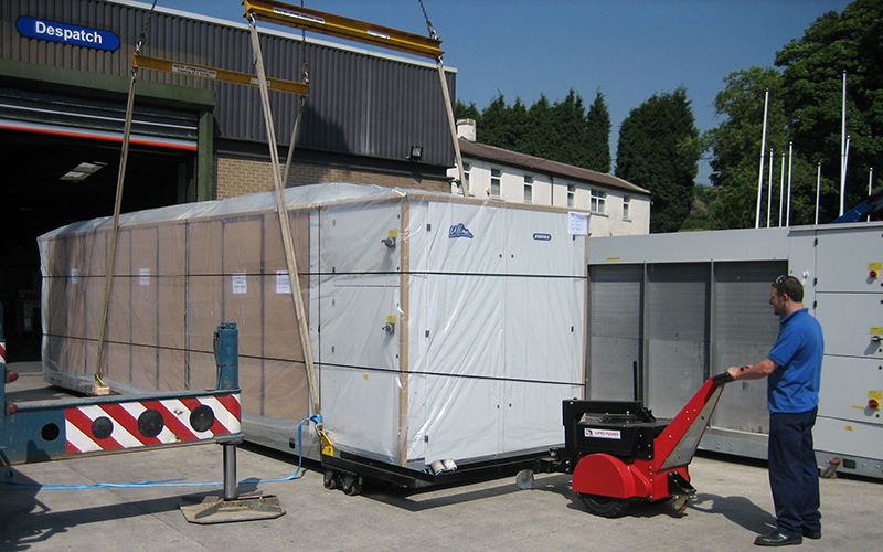 Super Pusher moving 7,000Kg chiller unit out of production into despatch area for Airedale Air Conditioning
